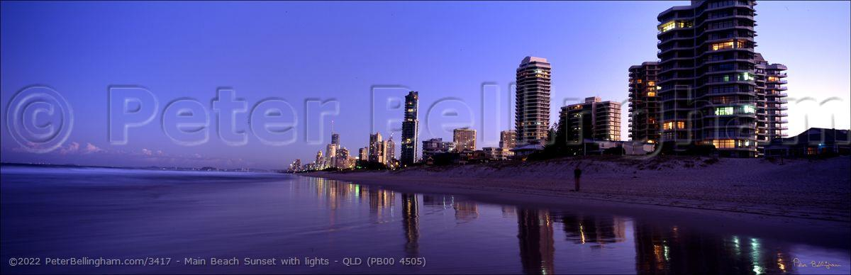 Peter Bellingham Photography Main Beach Sunset with lights - QLD (PB00 4505)